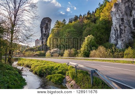 Rock called Hercules Club in Ojcow National Park Poland