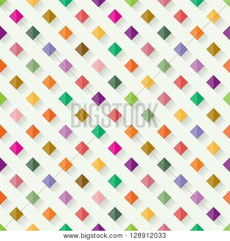 Seamless geometric pattern from colourful rhombs with shadows