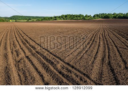 Plowed farm field ready for sowing season