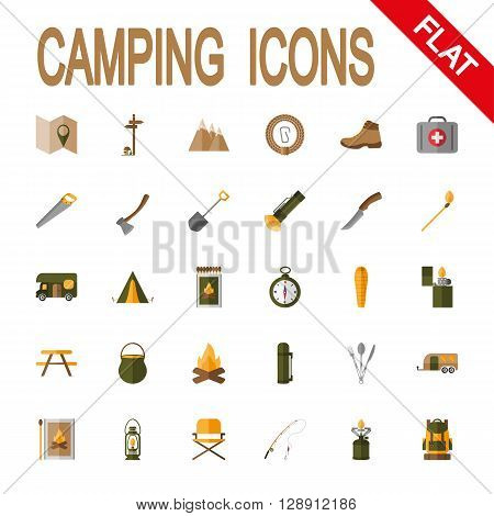 Camping. Icon set for web and mobile application. Vector illustration on a white background. Flat design style.
