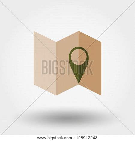 Map. Map marks. Icon for web and mobile application. Vector illustration on a white background. Flat design style.