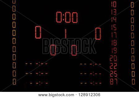 Dot-matrix display in sport arena before handball match starts