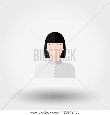 Administrator. Manager. Girl. Icon for web and mobile application. Vector illustration on a white background. Flat design style.