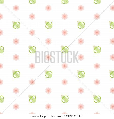 Baby Feeding bottle and pink flowers. Seamless vector illustration. Swatch inside.