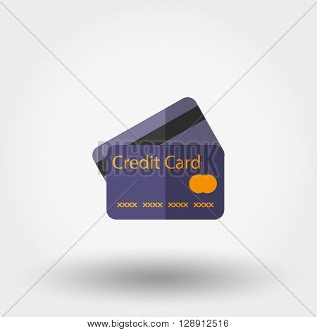 Credit card. Icon for web and mobile application. Vector illustration on a white background. Flat design style.
