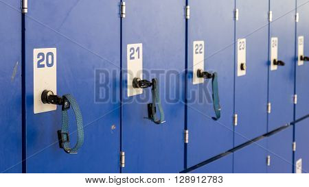 Closeup of numbered lockers of a dressing room
