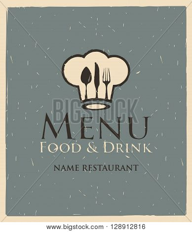 banner for menu with toque and cutlery