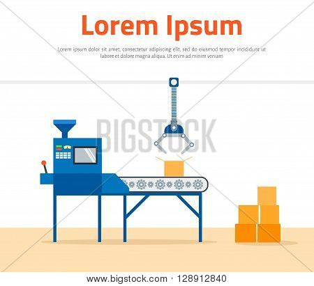 Conveyor Machine in Factory - flat vector illustration. Manufacture and packaging on factory by conveyor belt. Production concept.
