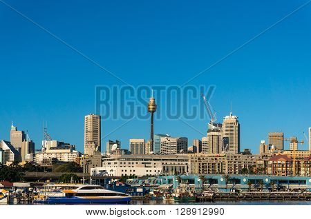 Sydney CBD city view of Sydney Fish Market Glebe and Central Business District with Sydney Tower Centrepoint. Office commercial and residential skyscraper buildings of Sydney NSW Australia