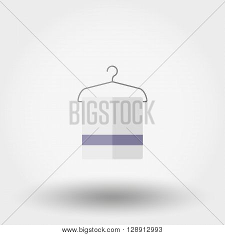 Hanger and towels. Icon for web and mobile application. Vector illustration on a white background. Flat design style.