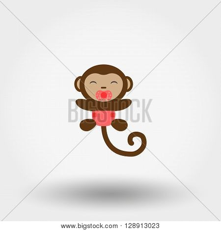 Monkey in a diaper with a pacifier. Icon for web and mobile application. Vector illustration on a white background. Flat design style.