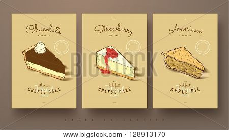 collection of sweets cheese cakes and apple pie hand drawn