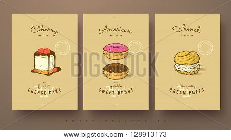 collection of sweets cherry cheese cake donut and cream puffs hand drawn