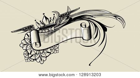 Vintage illustration with flowers and ribbon, crown and wings