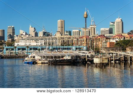 Sydney CBD city view of Sydney Fish Market and Central Business District with Sydney Tower Centrepoint. Office commercial and residential skyscraper buildings of Sydney NSW Australia
