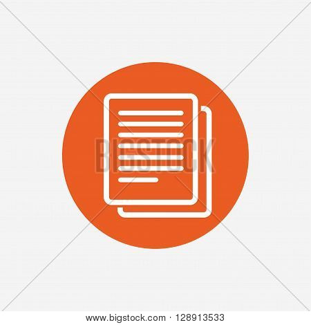 Copy file sign icon. Duplicate document symbol. Orange circle button with icon. Vector