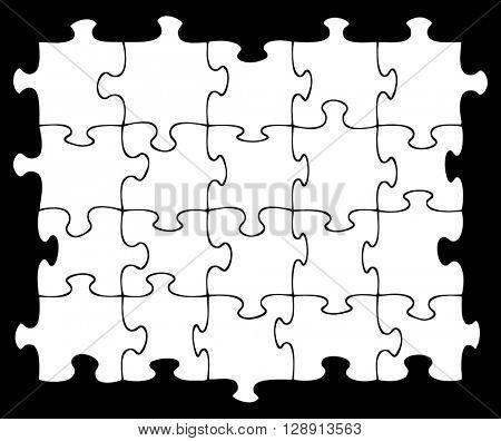 Twenty blank jigsaw pieces on black background