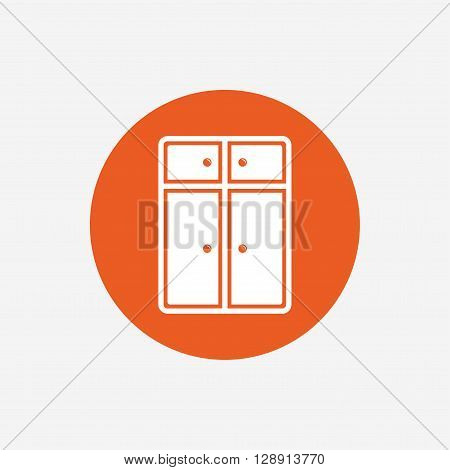 Cupboard sign icon. Modern furniture symbol. Orange circle button with icon. Vector