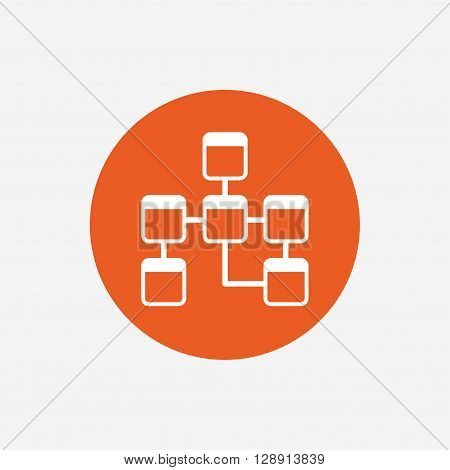 Database sign icon. Relational database schema symbol. Orange circle button with icon. Vector