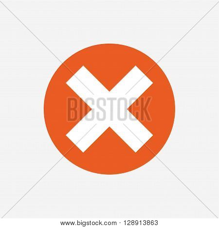 Delete sign icon. Remove button. Orange circle button with icon. Vector