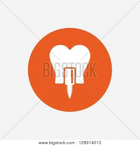 Tooth implant icon. Dental endosseous implant sign. Dental care symbol. Orange circle button with icon. Vector