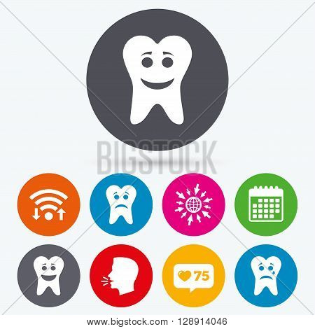 Wifi, like counter and calendar icons. Tooth happy, sad and crying faces icons. Dental care signs. Healthy or unhealthy teeth symbols. Human talk, go to web.