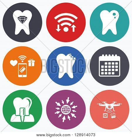 Wifi, mobile payments and drones icons. Dental care icons. Caries tooth sign. Tooth endosseous implant symbol. Tooth crystal jewellery. Calendar symbol.