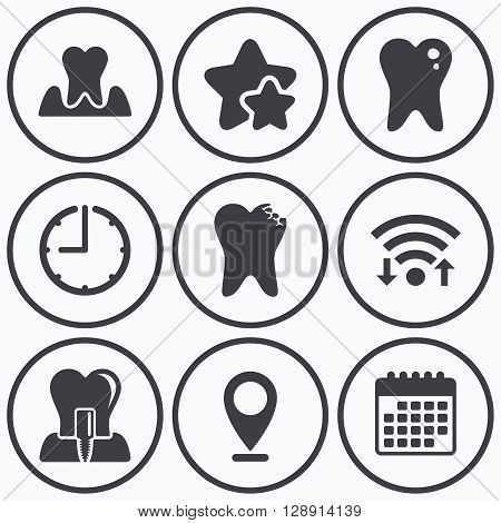 Clock, wifi and stars icons. Dental care icons. Caries tooth sign. Tooth endosseous implant symbol. Parodontosis gingivitis sign. Calendar symbol.