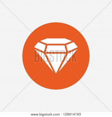 Diamond sign icon. Jewelry symbol. Gem stone. Orange circle button with icon. Vector