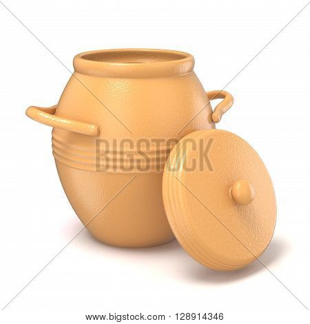 Opened clay pot with lid. 3D render illustration isolated on white background