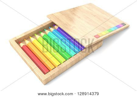 Wooden box with colorful pencils. 3D render illustration isolated on white background