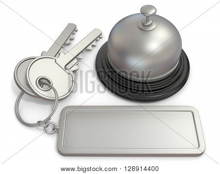 Hotel key with rectangular blank label on ring and reception bell. 3D render illustration isolated on white background