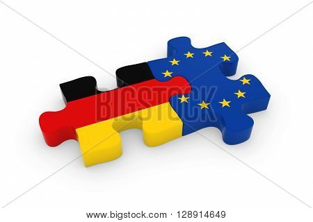 Germany And Eu Puzzle Pieces - German And European Flag Jigsaw 3D Illustration