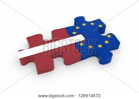 Latvia And Eu Puzzle Pieces - Latvian And European Flag Jigsaw 3D Illustration