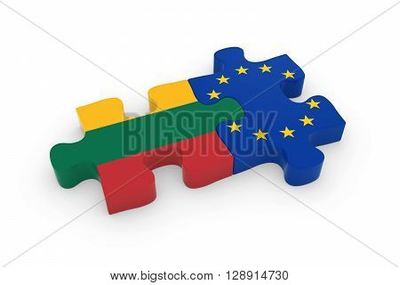 Lithuania And Eu Puzzle Pieces - Lithuanian And European Flag Jigsaw 3D Illustration