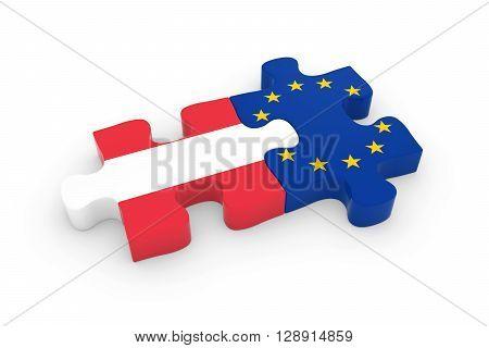 Austria And Eu Puzzle Pieces - Austrian And European Flag Jigsaw 3D Illustration