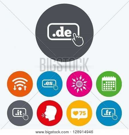 Wifi, like counter and calendar icons. Top-level internet domain icons. De, It, Es and Fr symbols with hand pointer. Unique national DNS names. Human talk, go to web.