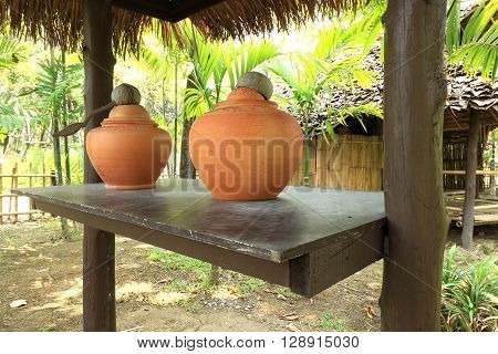traditional water jars used for drinking water.