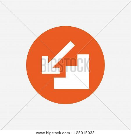 Downstairs icon. Down arrow sign. Orange circle button with icon. Vector