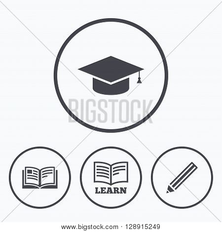 Pencil and open book icons. Graduation cap symbol. Higher education learn signs. Icons in circles.