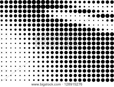 Abstract black dots halftone shaded background over white