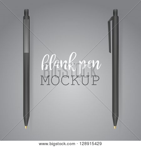 Vector Set of Blank Black Pens.Template for advertising and corporate identity.Mock Up Template Ready For Your Design. Vector Isolated Illustration on Transparent Background