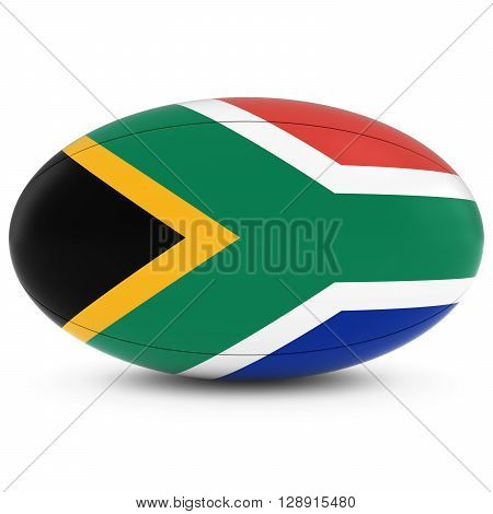 South Africa Rugby - South African Flag On Rugby Ball On White - 3D Illustration