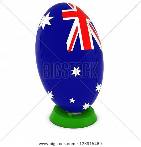Australia Rugby - Australian Flag On Standing Rugby Ball - 3D Illustration