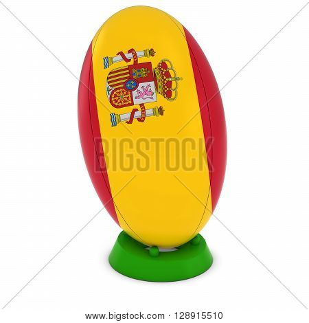 Spain Rugby - Spanish Flag On Standing Rugby Ball - 3D Illustration