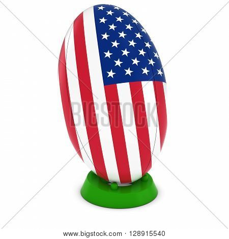 Usa Rugby - American Flag On Standing Rugby Ball - 3D Illustration