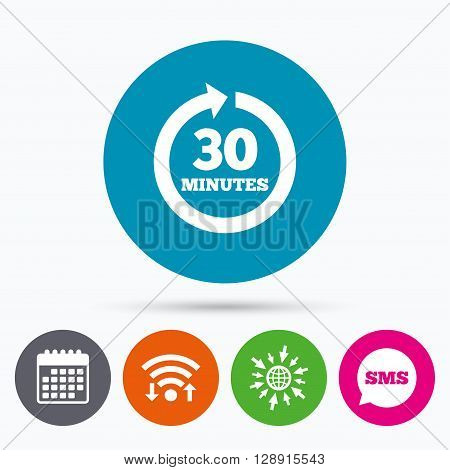 Wifi, Sms and calendar icons. Every 30 minutes sign icon. Full rotation arrow symbol. Go to web globe.