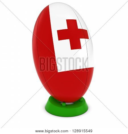 Tonga Rugby - Tongan Flag On Standing Rugby Ball - 3D Illustration