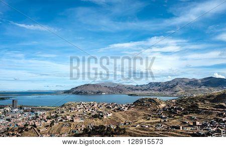 Puno town on the Lake Titicaca, Peru