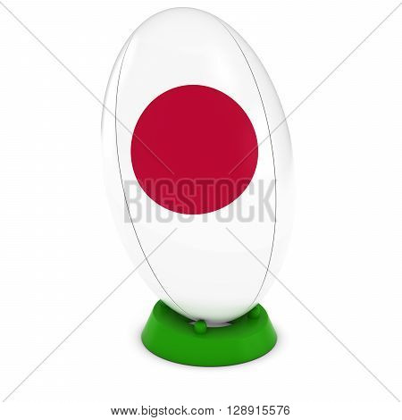 Japan Rugby - Japanese Flag On Standing Rugby Ball - 3D Illustration